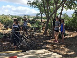Volunteers at Kihei Charter School move tubes of irrigation line.
