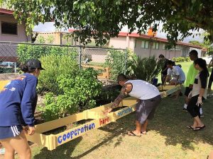 Volunteers put the framework in place for new growing beds at Kahului Elementary School.